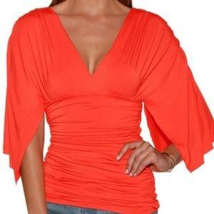 EUC Boston Proper coral Kimono style top, Size XS